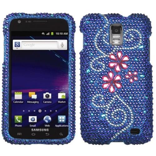 Insten Juicy Flower Hard Rhinestone Case For Samsung Galaxy S2 Skyrocket I727 - Blue/Pink
