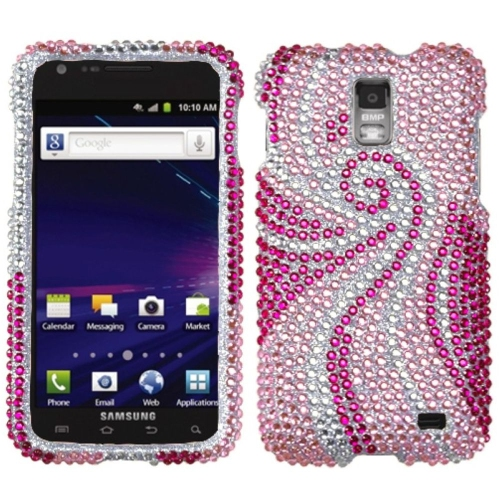 Insten Phoenix Tail Hard Rhinestone Cover Case For Samsung Galaxy S2 Skyrocket I727 - Pink/Hot Pink