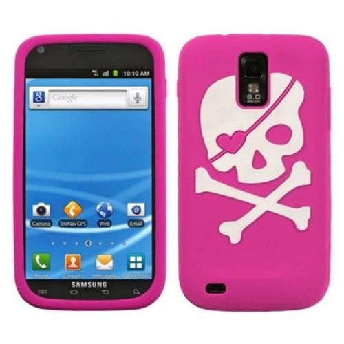 Insten Skull Soft Rubber Case For Samsung Galaxy S2 Hercules T989 - Hot Pink/White