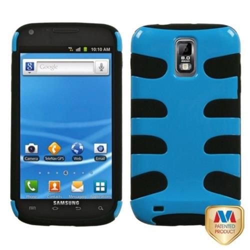 Insten Fishbone Hard Hybrid Silicone Cover Case For Samsung Galaxy S2 Hercules T989 - Blue/Black