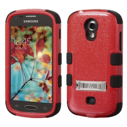 Insten Hard Hybrid Rubber Silicone Cover Case w/stand For Samsung Galaxy Light - Red/Black