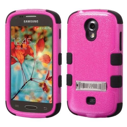 Insten Hard Hybrid Rubber Coated Silicone Case w/stand For Samsung Galaxy Light - Hot Pink/Black