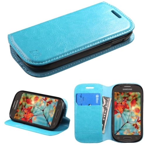 Insten Flip Leather Fabric Case w/stand/card holder For Samsung Galaxy Light - Blue