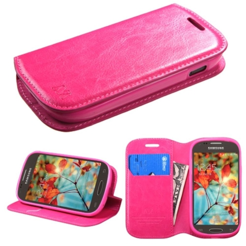 Insten Flip Leather Fabric Cover Case w/stand/card holder For Samsung Galaxy Light - Hot Pink