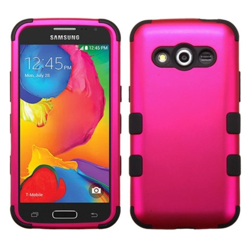 Insten Hard Hybrid Silicone Case For Samsung Galaxy Avant - Hot Pink/Black