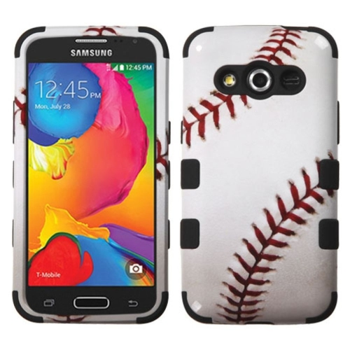 Insten Baseball Hard Dual Layer Rubberized Silicone Case For Samsung Galaxy Avant - White/Red