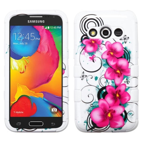 Insten Morning Petunias Hard Hybrid Silicone Cover Case For Samsung Galaxy Avant - White/Purple
