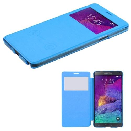 Insten Hard Plastic Silk Texture Case For Samsung Galaxy Note 4 - Blue