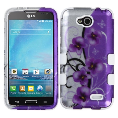 Insten Twilight Petunias Hard Dual Layer Silicone Case For LG Optimus L90 - Purple/White