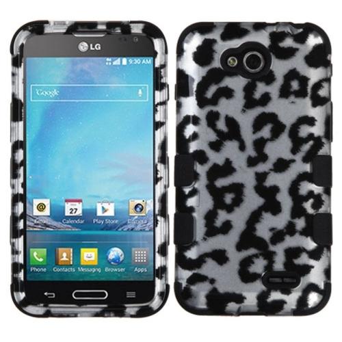 Insten Leopard Hard Hybrid Rubberized Silicone Case For LG Optimus L90 - White/Black