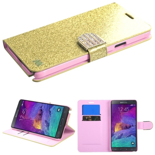 Insten Leather Fabric Cover Case w/stand/card slot/Diamond For Samsung Galaxy Note 4, Gold
