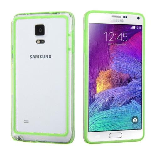 Insten Gel Bumper For Samsung Galaxy Note 4 - Green/Clear