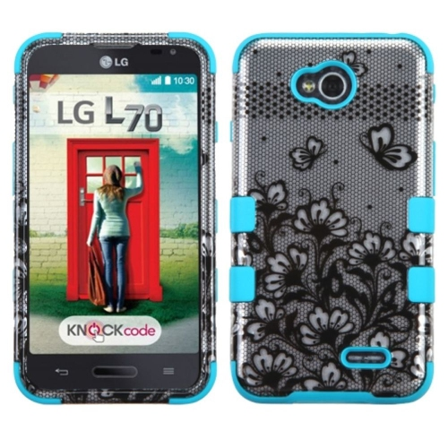 Insten Lace Flowers Hard Cover Case For LG Optimus Exceed 2 VS450PP Verizon/Optimus L70/Realm, Blue