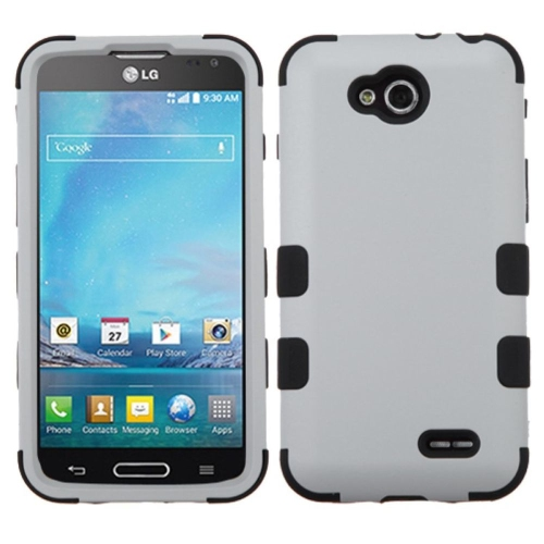 Insten Tuff Hard Dual Layer Rubberized Silicone Cover Case For LG Optimus L90 - White/Black