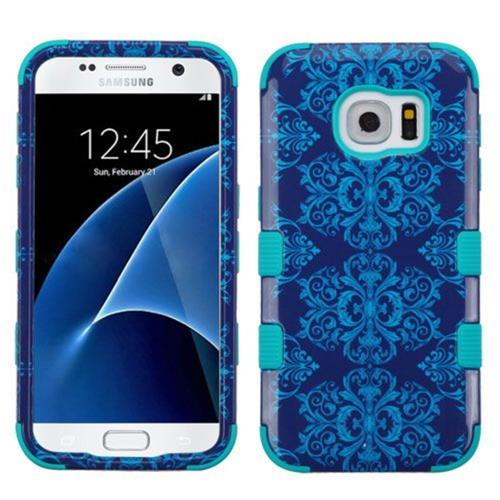 Insten Tuff Damask Hard Dual Layer Silicone Case For Samsung Galaxy S7 - Blue