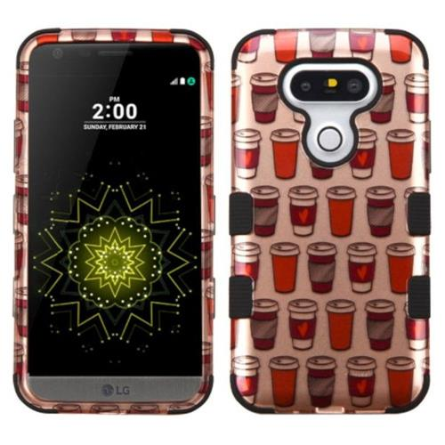 Insten Tuff Give Me Coffee Hard Hybrid Rubber Coated Silicone Case For LG G5 - Rose Gold
