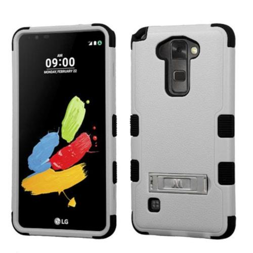 Insten Hard Dual Layer Silicone Cover Case w/stand For LG Stylo 2/Stylus 2 - Gray/Black