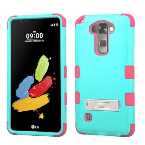 Insten Hard Dual Layer Rubberized Silicone Case w/stand For LG Stylo 2/Stylus 2 - Teal/Pink