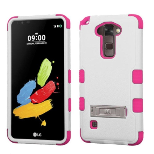 Insten Hard Hybrid Rubber Silicone Case w/stand For LG Stylo 2/Stylus 2 - White/Pink