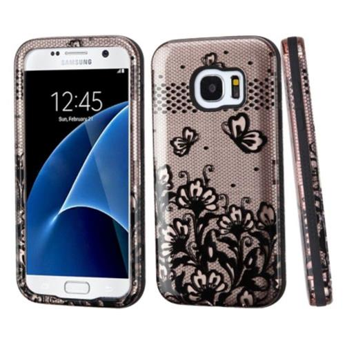Insten Tuff Lace Flowers Hard Dual Layer Silicone Case For Samsung Galaxy S7 - Rose Gold/Black