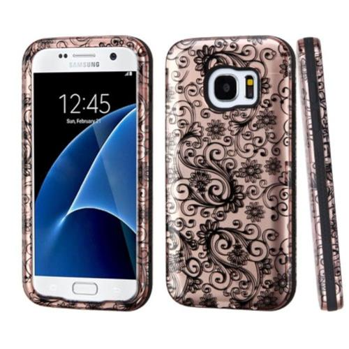 Insten Four-leaf Clover Hard Rubberized Silicone Case For Samsung Galaxy S7, Rose Gold/Black