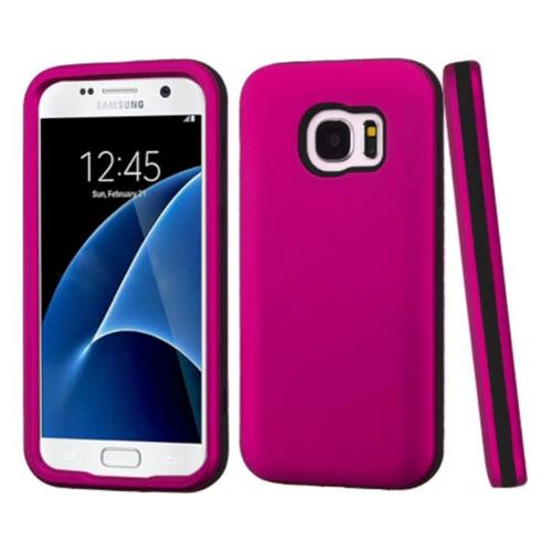 Insten Verge Hard Hybrid Rubber Coated Silicone Case For Samsung Galaxy S7 - Hot Pink/Black