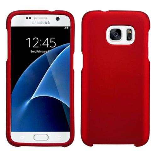 Insten Hard Rubber Coated Cover Case For Samsung Galaxy S7 - Red