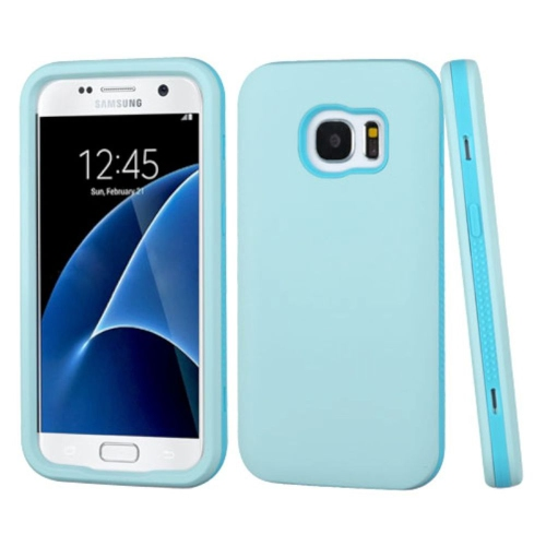 Insten Verge Hard Hybrid Rubber Coated Silicone Cover Case For Samsung Galaxy S7 - Blue/Black