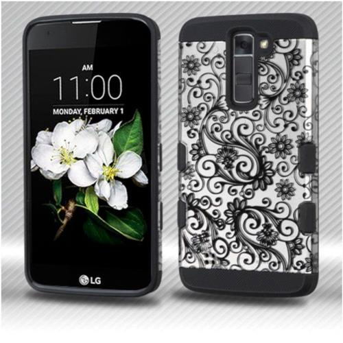 Insten Four-leaf Clover Hard Rubberized Silicone Cover Case For LG K7 Tribute 5/K8 (2016), Black