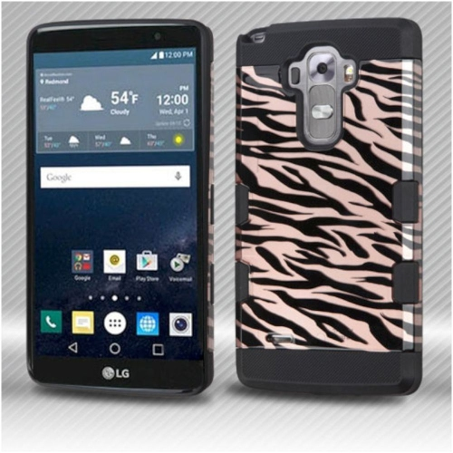 Insten Zebra Hard Dual Layer Silicone Case For LG G Stylo LS770/G Vista 2 - Rose Gold/Black