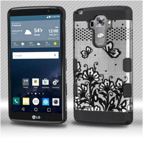 Insten Lace Flowers Hard Dual Layer Rubberized Silicone Case For LG G Stylo LS770/G Vista 2 - Black