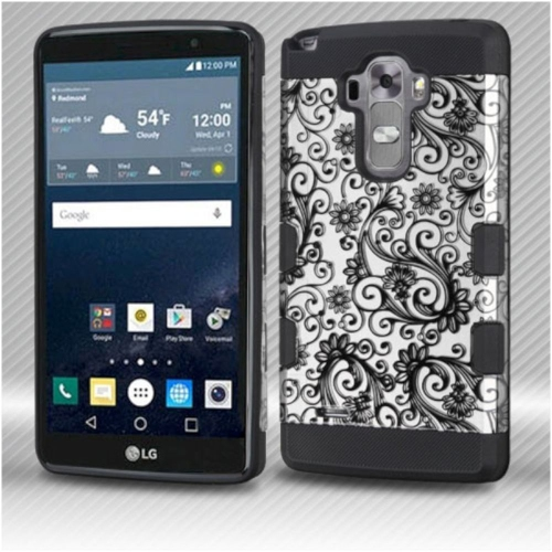 Insten Four-leaf Clover Hard Hybrid Rubber Silicone Cover Case For LG G Stylo LS770/G Vista 2, Black