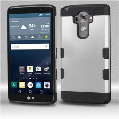 Insten Hard Rubber Coated Silicone Cover Case For LG G Stylo LS770/G Vista 2, Silver/Black