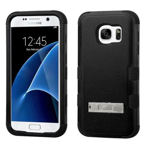 Insten Hard Dual Layer Silicone Case w/stand For Samsung Galaxy S7 - Black