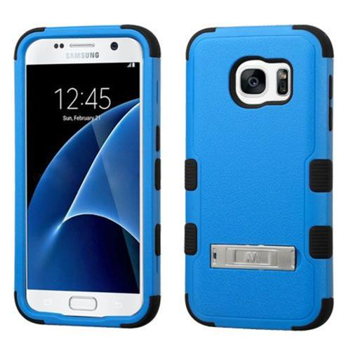 Insten Hard Hybrid Rubber Silicone Cover Case w/stand For Samsung Galaxy S7 - Blue/Black