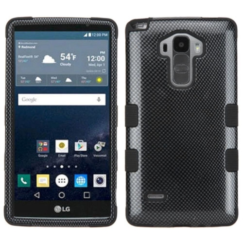 Insten Tuff Carbon Fiber Hard Dual Layer Rubber Silicone Case For LG G Stylo LS770/G Vista 2 - Black