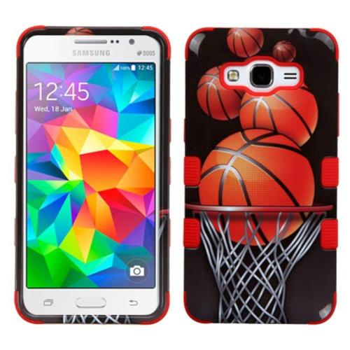 Insten Basketball Hoop Hard Dual Layer Silicone Case For Samsung Galaxy Grand Prime, Brown/Black
