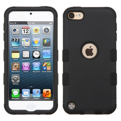 Insten Tuff Hard Hybrid Rubberized Silicone Case For Apple iPod Touch 5th Gen/6th Gen - Black