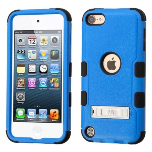 Insten Hard Hybrid Rubber Silicone Case w/stand For Apple iPod Touch 5th Gen/6th Gen, Blue/Black