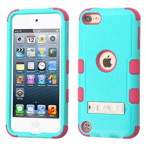 Insten Hard Hybrid Silicone Cover Case w/stand For Apple iPod Touch 5th Gen/6th Gen - Teal/Pink