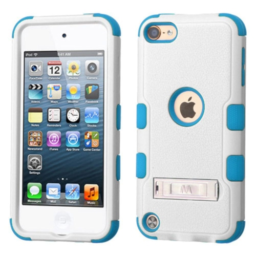 Insten Hard Hybrid Silicone Cover Case w/stand For Apple iPod Touch 5th Gen/6th Gen - White/Blue