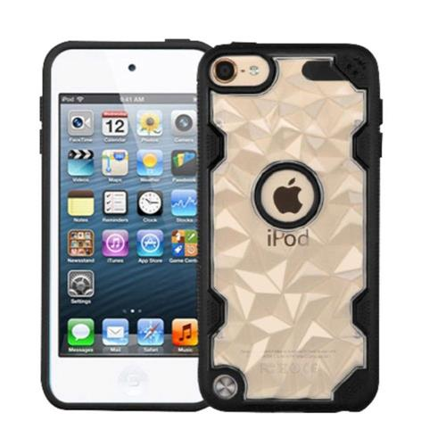 Insten Polygon Hard Crystal TPU Case For Apple iPod Touch 5th Gen/6th Gen - Clear/Black