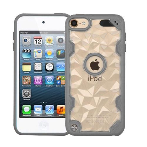 Insten Polygon Hard Crystal TPU Cover Case For Apple iPod Touch 5th Gen/6th Gen - Clear/Gray
