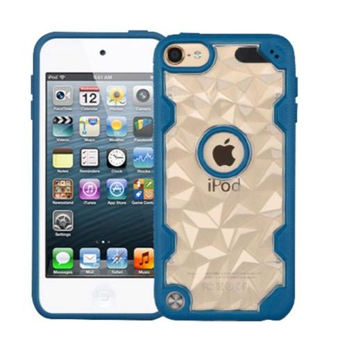 Insten Polygon Hard Crystal TPU Cover Case For Apple iPod Touch 5th Gen/6th Gen - Clear/Blue
