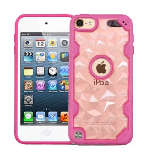 Insten Polygon Hard TPU Case For Apple iPod Touch 5th Gen/6th Gen - Rose Gold/Hot Pink