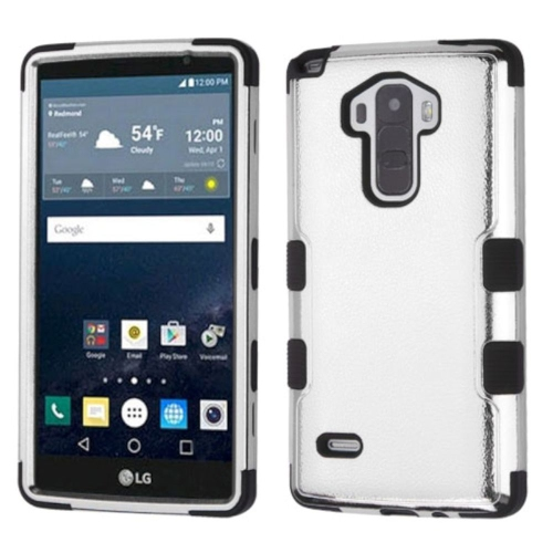 Insten Hard Hybrid Rubber Coated Silicone Cover Case For LG G Stylo LS770/G Vista 2, Silver/Black