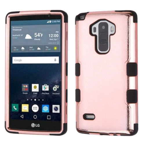 Insten Tuff Hard Hybrid Rubberized Silicone Case For LG G Stylo LS770/G Vista 2 - Rose Gold/Black