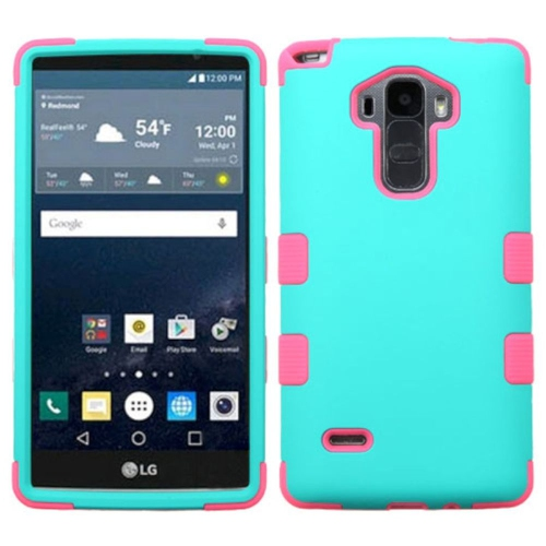 Insten Tuff Hard Dual Layer Rubber Coated Silicone Case For LG G Stylo LS770/G Vista 2 - Teal/Pink