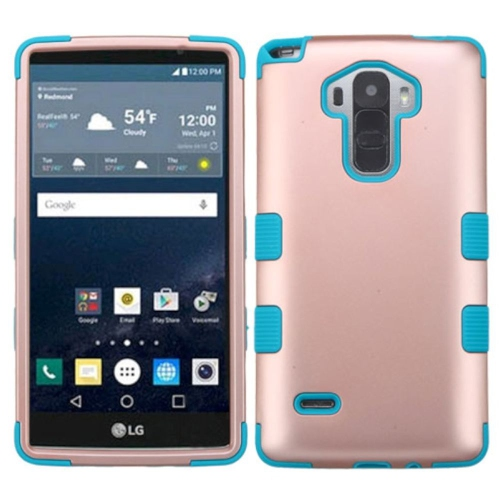Insten Hard Dual Layer Rubberized Silicone Cover Case For LG G Stylo LS770/G Vista 2, Rose Gold/Teal