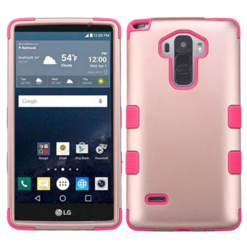 Insten Hard Dual Layer Rubber Silicone Cover Case For LG G Stylo LS770/G Vista 2, Rose Gold/Pink